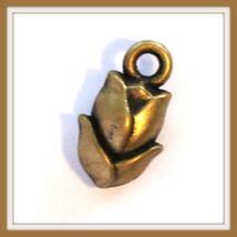 Antikolt bronz színű tulipán függő dísz