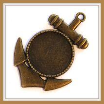 Antikolt bronz színű horgonyos medál 20 mm