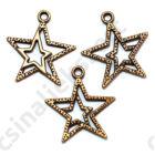 Antikolt bronz színű dupla csillag függő dísz 2 db