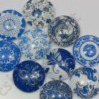 Mintás üveglencse vegyes Kék virágos 25 mm 2