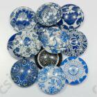 Mintás üveglencse vegyes Kék virágos 12 mm 2