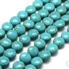 Kék színű lapított kerek 10 mm howlit ásványgyöngy 2