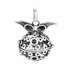 Antikolt ezüst színű szemüveges szárnyas nyitható angyalhívó medál