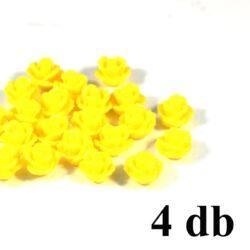 4 db 10 mm Citromsárga műanyag rózsa virág kaboson