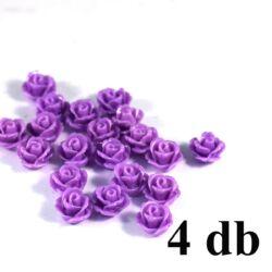 4 db 10 mm Lila Műanyag rózsa virág kaboson