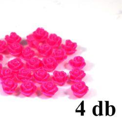 4 db 10 mm Pink Műanyag rózsa virág kaboson