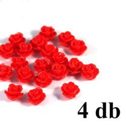 4 db 10 mm Piros Műanyag rózsa virág kaboson