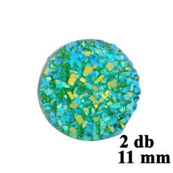 2 db 11 mm  Türkiz zöld műgyanta drúza achát kaboson