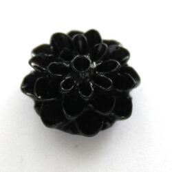 Műanyag dália virág cabochon 17 mm Fekete