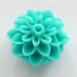 Műanyag dália virág cabochon 17 mm Türkiz