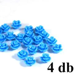 4 db 10 mm Világoskék Műanyag rózsa virág kaboson