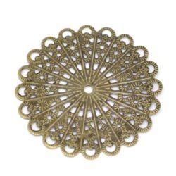 Antikolt bronz színű, réz kerek filigrán rozetta
