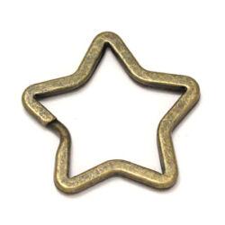 Antikolt bronz színű csillag alakú kulcskarika, kulcstartó