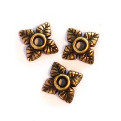 10 db Antikolt bronz színű csillagvirág gyöngykupak NIKKELMENTES
