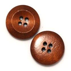Kerek 4 lyukas fa gomb lakkozott csokibarna 20 mm