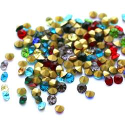 Vegyes üveg kúpos strassz 3.2-3.3 mm SS13 kb.100 db