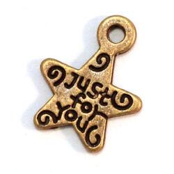Antikolt bronz színű csillag függő dísz Just for you felirattal NIKKELMENTES