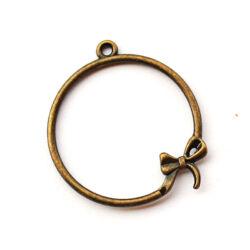 Antikolt bronz színű kerek masnis függő dísz