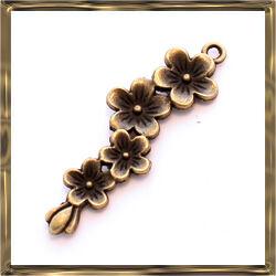 Antikolt bronz színű virágfüzér függő dísz NIKKELMENTES