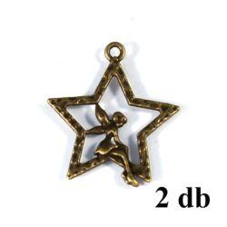 2 db Antikolt bronz színű csillagon ülő tündér függő dísz