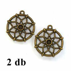 2 db Antikolt bronz színű csillagvirág mintás álomfogó medál NIKKELMENTES