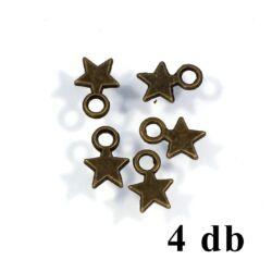 4 db Antikolt bronz színű kis csillag függő dísz NIKKELMENTES