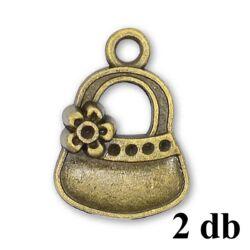 2 db Antikolt bronz színű virágos kistáska függő dísz NIKKELMENTES