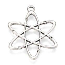 Antikolt ezüst színű 33 mm Atom, Agymenők függő dísz