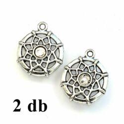 2 db Antikolt ezüst színű csillagvirág mintás kis álomfogó medál