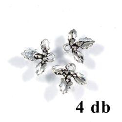 4 db Antikolt ezüst színű három magyal levél bogyóval függő dísz