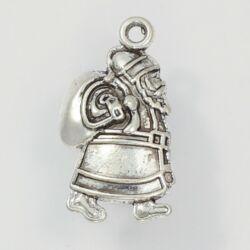 Antikolt ezüst színű mikulás puttonnyal függő dísz