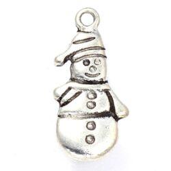 Antikolt ezüst színű sálas hóember függő dísz