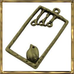 Antikolt bronz madárkás téglalap medál NIKKELMENTES
