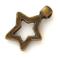 Antikolt bronz színű áttört csillag függő dísz NIKKELMENTES