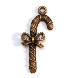 Antikolt bronz színű cukorpálca masnival függő dísz NIKKELMENTES