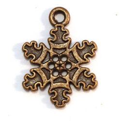 4 db Antikolt bronz színű hópehely függő dísz NIKKELMENTES