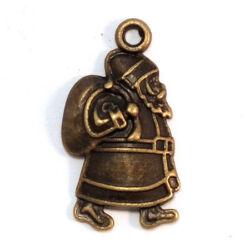 Antikolt bronz színű mikulás puttonnyal függő dísz