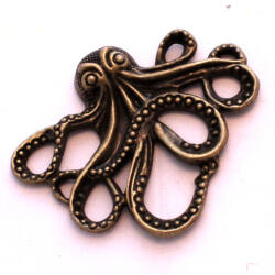 Antikolt bronz színű steampunk polip medál NIKKELMENTES