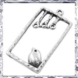 Antikolt ezüst színű madárkás téglalap medál NIKKELMENTES