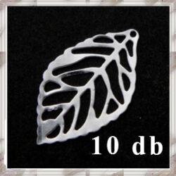 10 db Ezüstözött kis filigrán levél függő