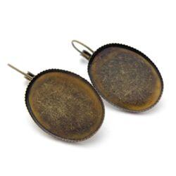 Antikolt sárgaréz színű, ovális tányéros, francia kapcsos fülbevaló alap 18x25 mm NIKKELMENTES