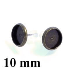 Antikolt bronz, réz tányéros bedugós fülbevaló alap 10 mm NIKKELMENTES