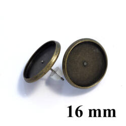 Antikolt bronz színű, réz tányéros bedugós fülbevaló alap 1 pár 16 mm NIKKELMENTES