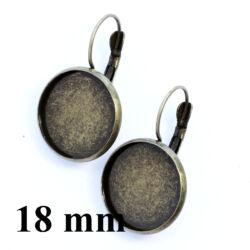 Antikolt sárgaréz/bronz tányéros francia kapcsos fülbevaló alap 18 mm NIKKELMENTES