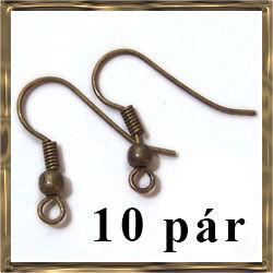 Antikolt bronz golyós fülbevaló akasztó NIKKELMENTES 10 pár