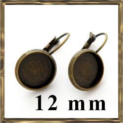 Antikolt bronz francia kapcsos tányéros fülbevaló alap 12 mm NIKKELMENTES