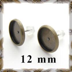 Antikolt bronz színű, réz tányéros bedugós fülbevaló alap 12 mm NIKKELMENTES