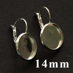 Ezüstözött francia kapcsos tányéros fülbevaló alap 14 mm  NIKKELMENTES