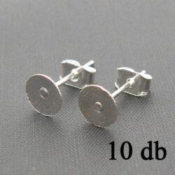 10 db Ezüstözött lapkás bedugós fülbevaló alap 6 mm