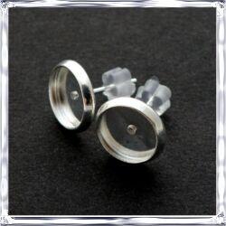 Ezüstözött, réz bedugós tányéros fülbevaló alap 10 mm NIKKELMENTES